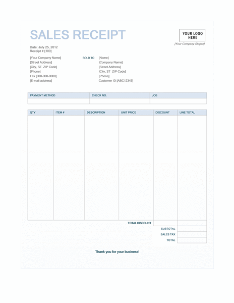 Sales receipt (Blue Background design)