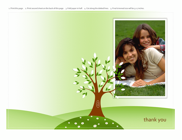 Photo greeting card (tree design, half-fold)