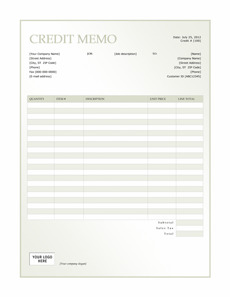 Credit memo (Green Gradient design)