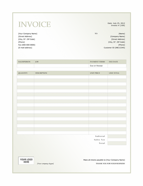 Service invoice (Green Gradient design)