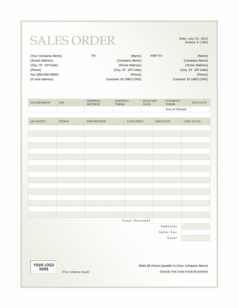 Sales order (Green Gradient design)