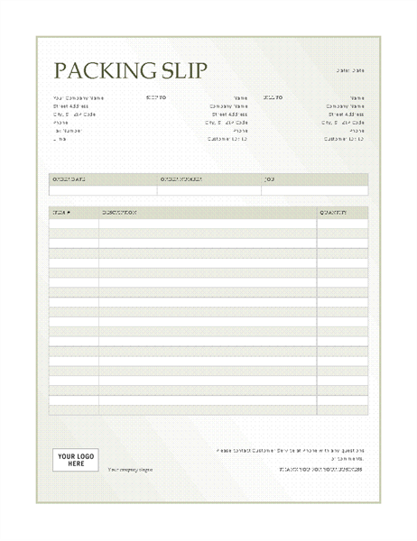 Exceptional Packing Slip (Green Gradient Design) Ideas List Template Word
