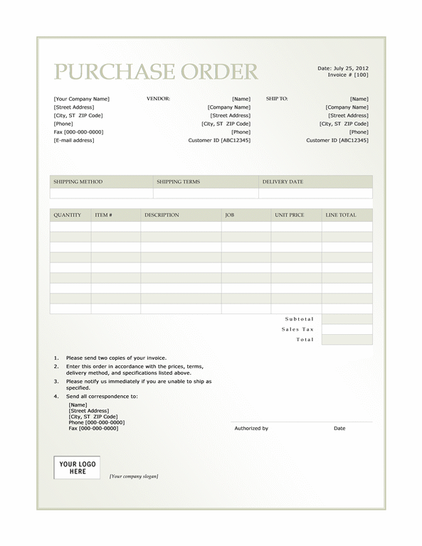 Purchase order (Green Gradient design)