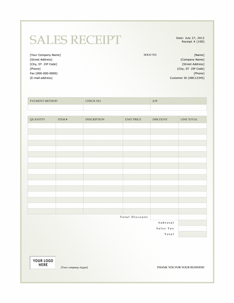 Sales receipt (Green Gradient design)