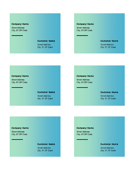 Shipping labels green gradient design 6 per page works for Avery label 8164 template