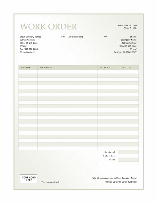 Work order (Green Gradient design)