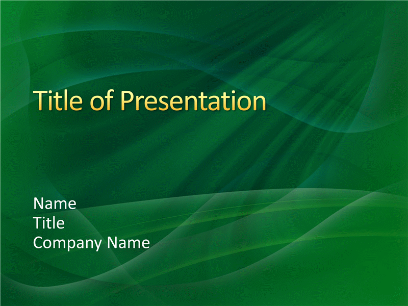 Sample presentation slides (Green swirls design)