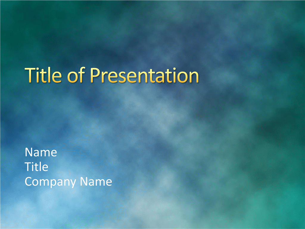 Sample presentation slides (Teal feathered clouds design)