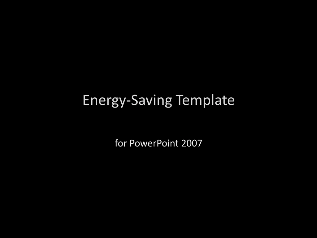 Energy and paper-saving presentation