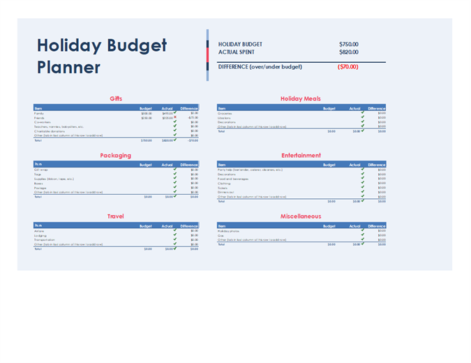 holiday budget planner template