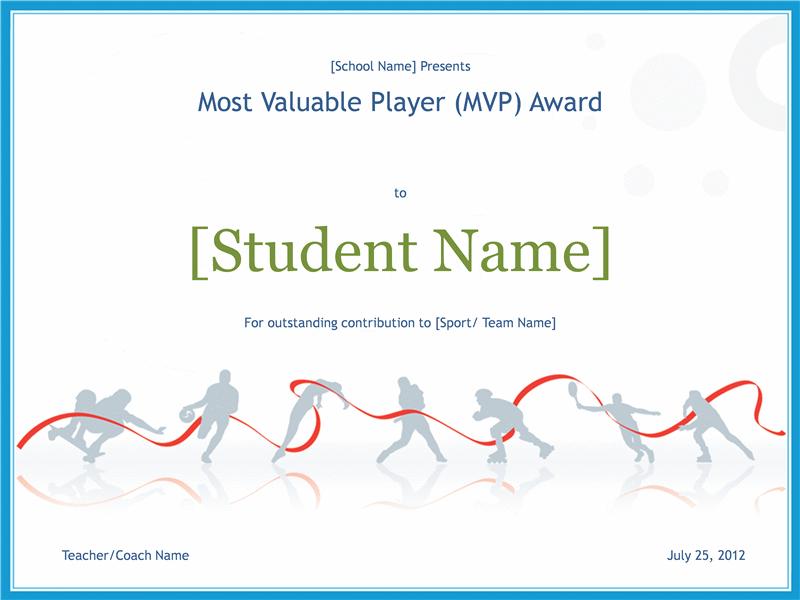 MVP award certificate