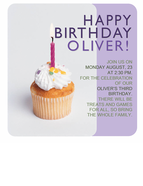 Lovely Birthday Invitation Flyer (with Cupcake) To Birthday Template Word
