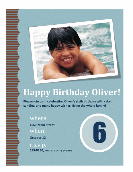 Child's birthday party invitation flyer (with age)