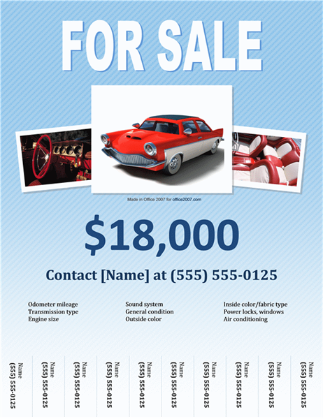 Sales Flyer  Printable Car For Sale Sign Template