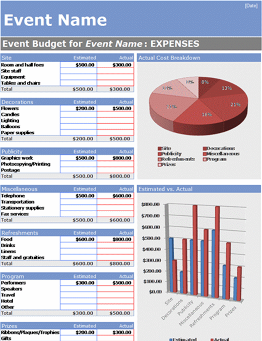 Event budget - Office Templates