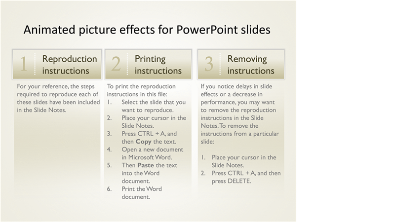 Animated effects for PowerPoint slides