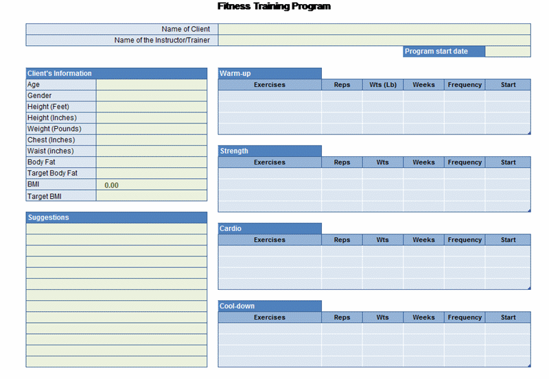 Exercise planner office templates exercise planner pronofoot35fo Choice Image