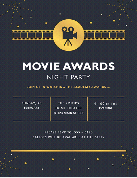 Movie awards party invitation - Office Templates