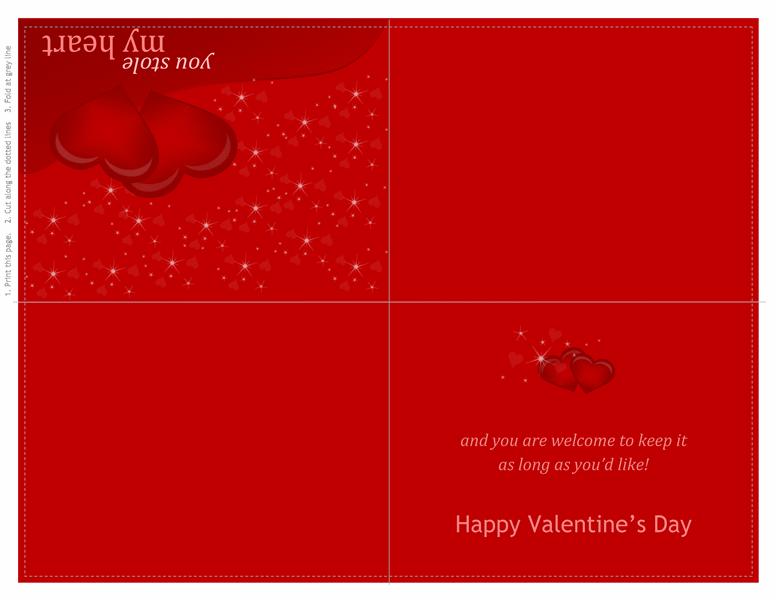 Valentine's Day card (quarter-fold) - Office Templates