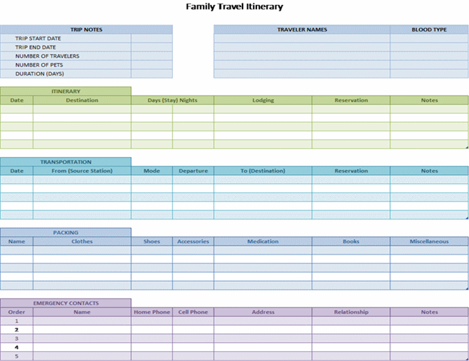 Family Travel Itinerary  Microsoft Word Template Checklist