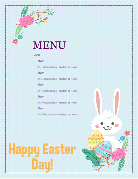template for dinner menu