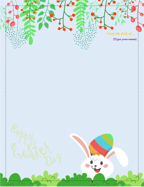 Easter stationery for Letter to easter bunny template