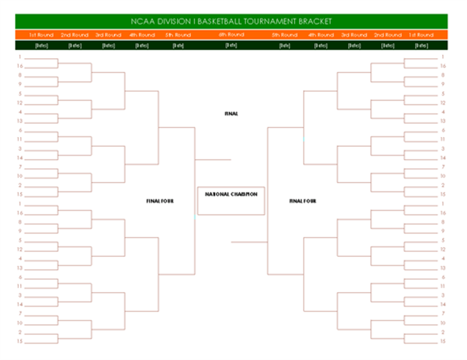 NCAA basketball tournament bracket with tracker