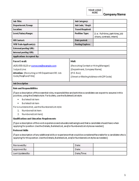 Job description form for Template for job description in word