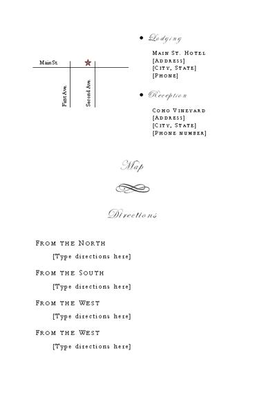 Directions insert (Genteel design)