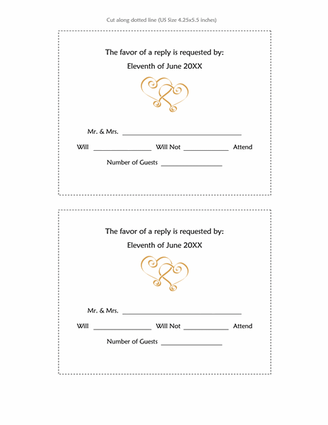 Wedding Invitation Response Cards (Heart Scroll Design, 2 Per Page)