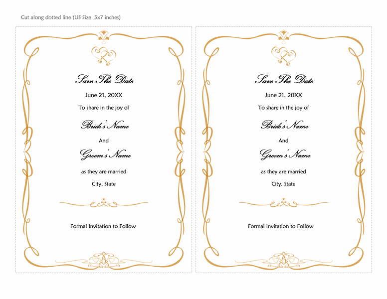Save The Date Card (Heart Scroll Design, 2 Per Page)  Microsoft Word Invitation Templates
