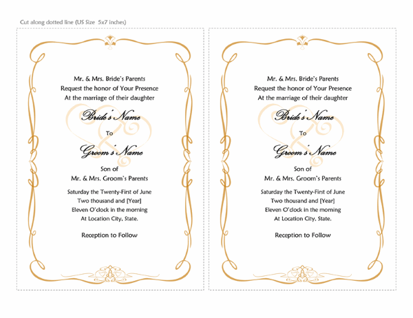 Wedding Invitations (Heart Scroll Design, A7 Size, 2 Per Page)  Card Template For Word