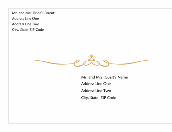 Wedding Invitation Envelope Heart Scroll Design A Size - Wedding invitation envelope address template