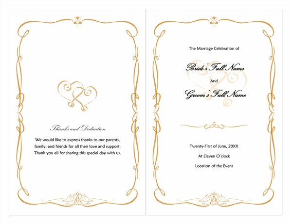 Wedding program heart scroll design for Free wedding program templates word