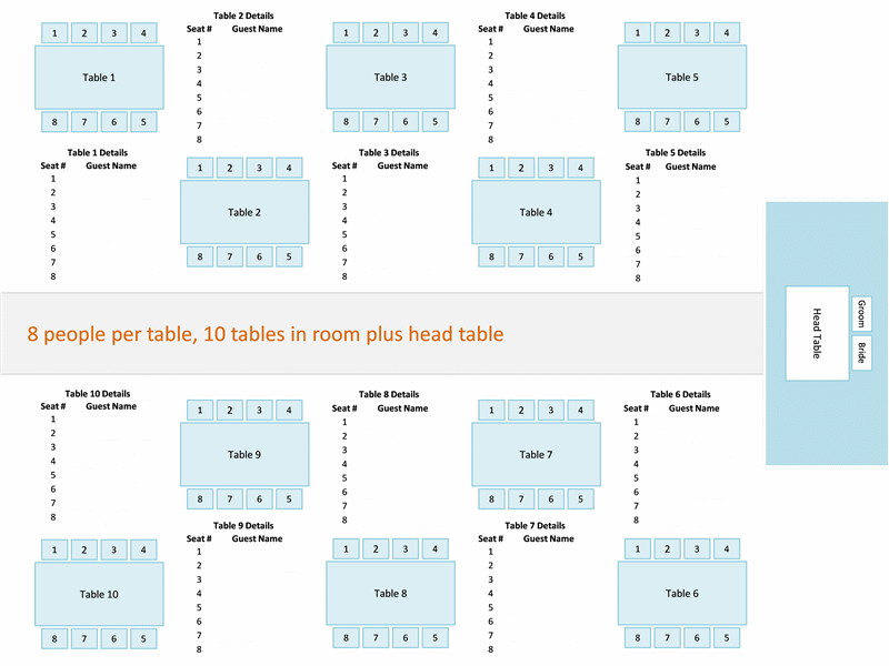 Wedding reception seating chart (round or rectangular tables)