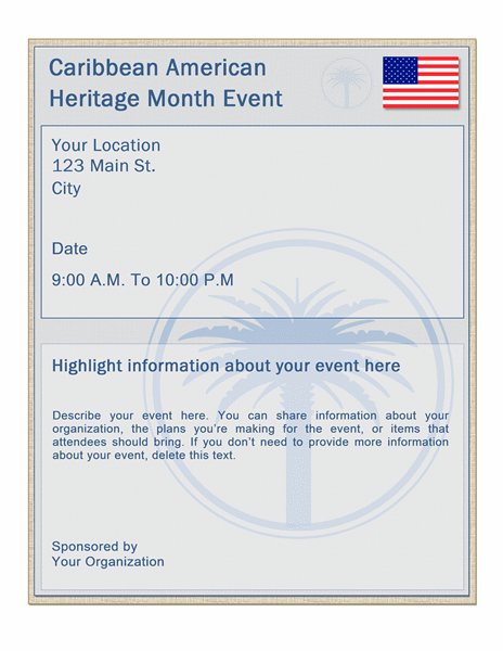 Caribbean American Heritage Month event flyer