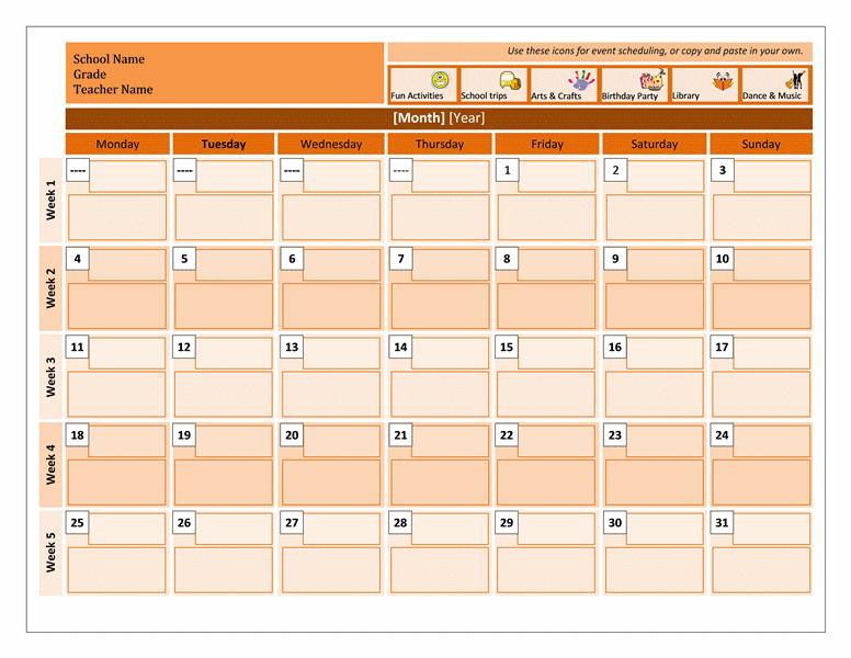 Class Calendar  Monthly Calendar Word Template