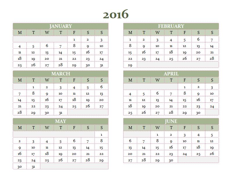 2010-2019 yearly calendar (Mon-Sun) - Office Templates
