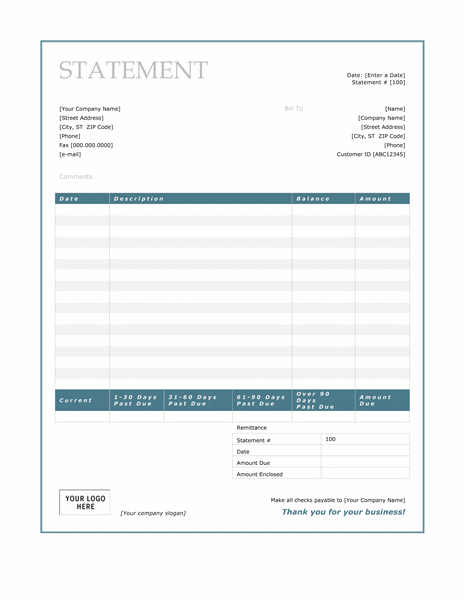 Superior Billing Statement (Blue Border Design) Intended For Bill Statement Template
