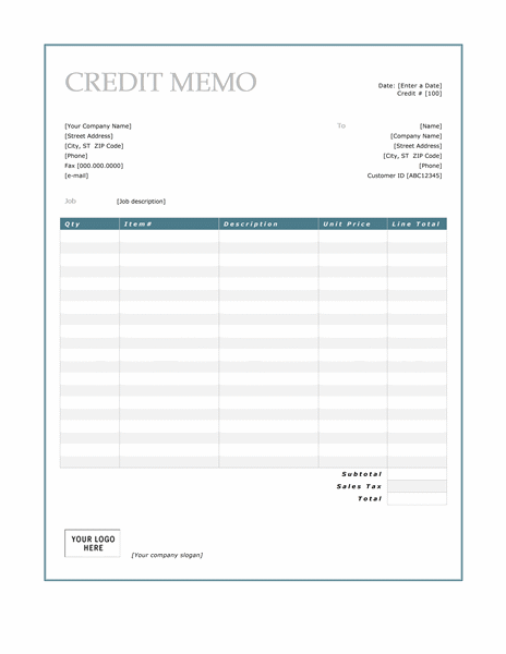 Credit Memo (Blue Border Design)  Download Memo Template