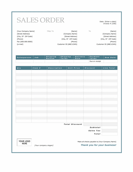 Sales Order (Blue Border Design)  Blank Receipt Template Microsoft Word