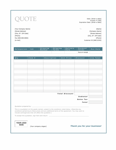 Sales quote (Blue Border design)