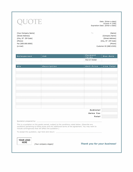 Service quote (Blue Border design)