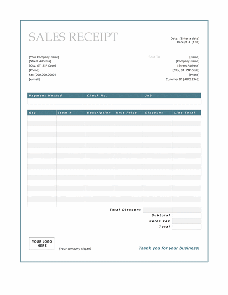 Sales Receipt (Blue Border Design)  Business Receipt Template Word