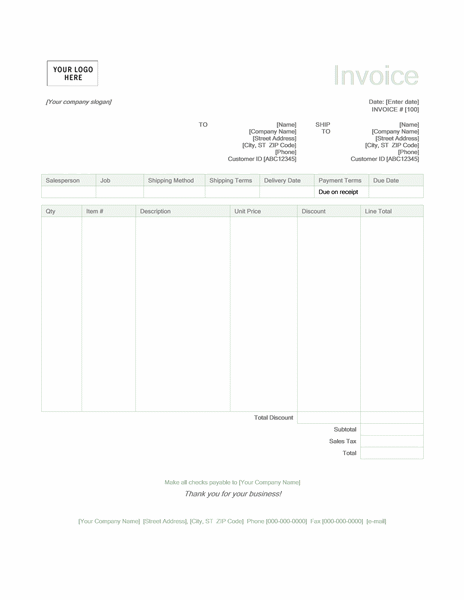 Sales invoice (Green design)