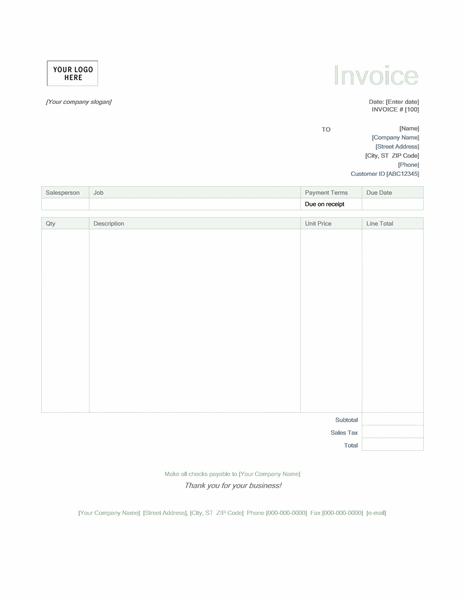 Service invoice (Green design)