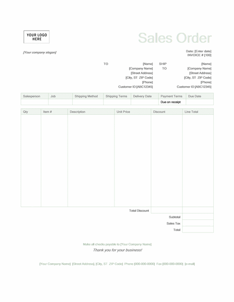 Sales order (Green design)