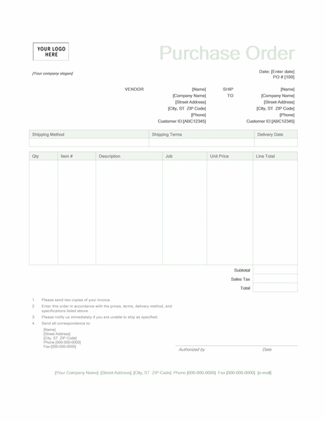Purchase order Green design Office Templates – Office Purchase Order Template