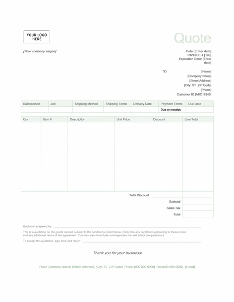 Sales Quote (Green Design)  Format Of Invoice In Word