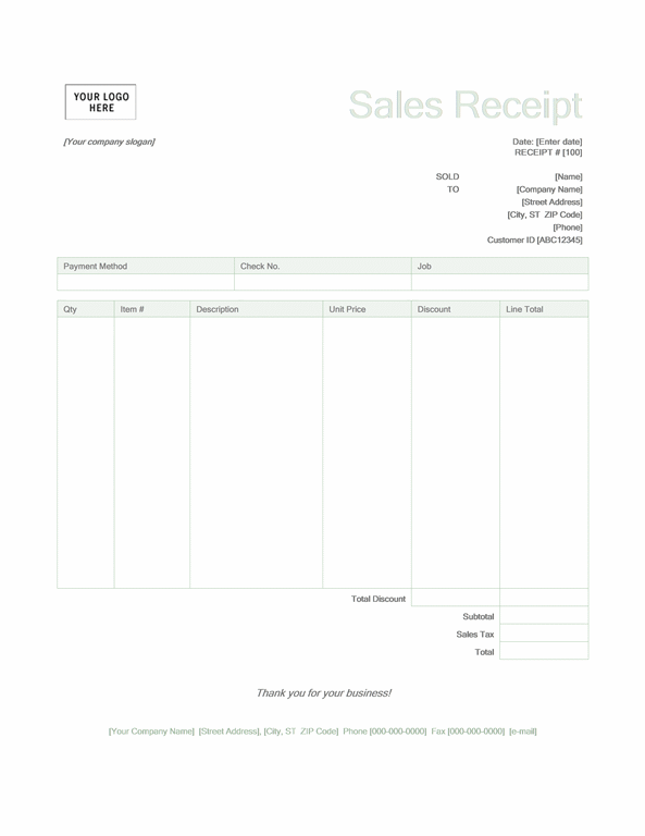 Sales receipt (Green design)